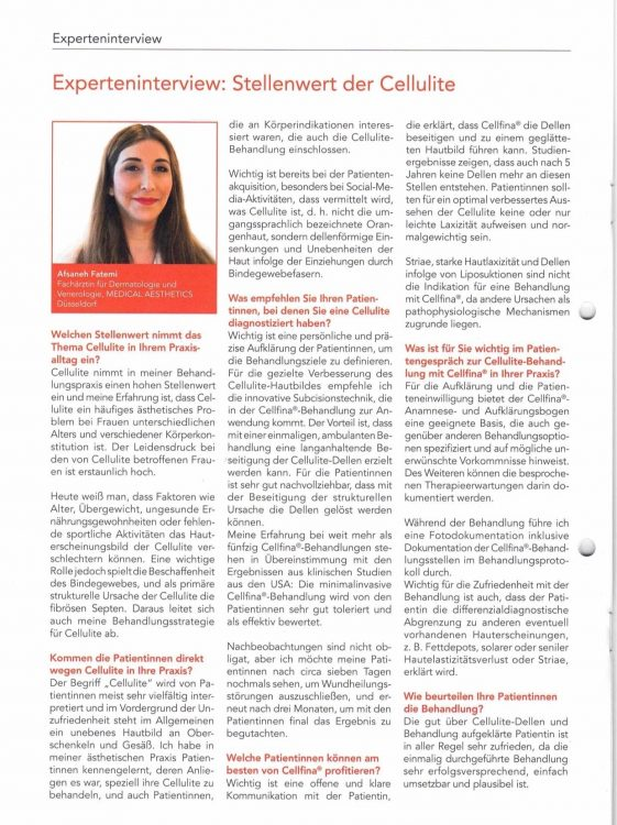 Fachärztin Afsaneh Fatemi im Experteninterview zu Cellulite